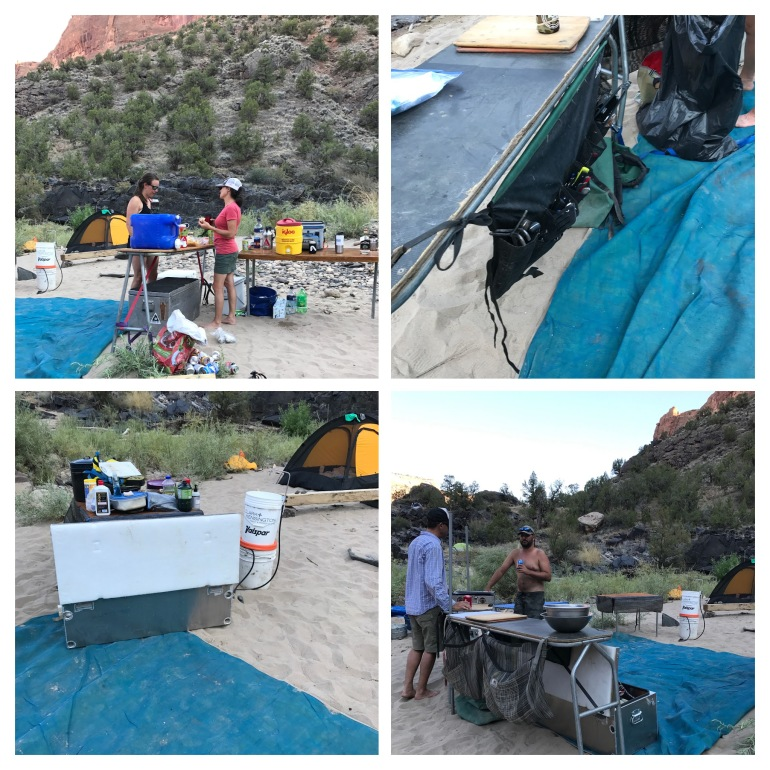 Raft Trip Utah West Water Cooking Setup